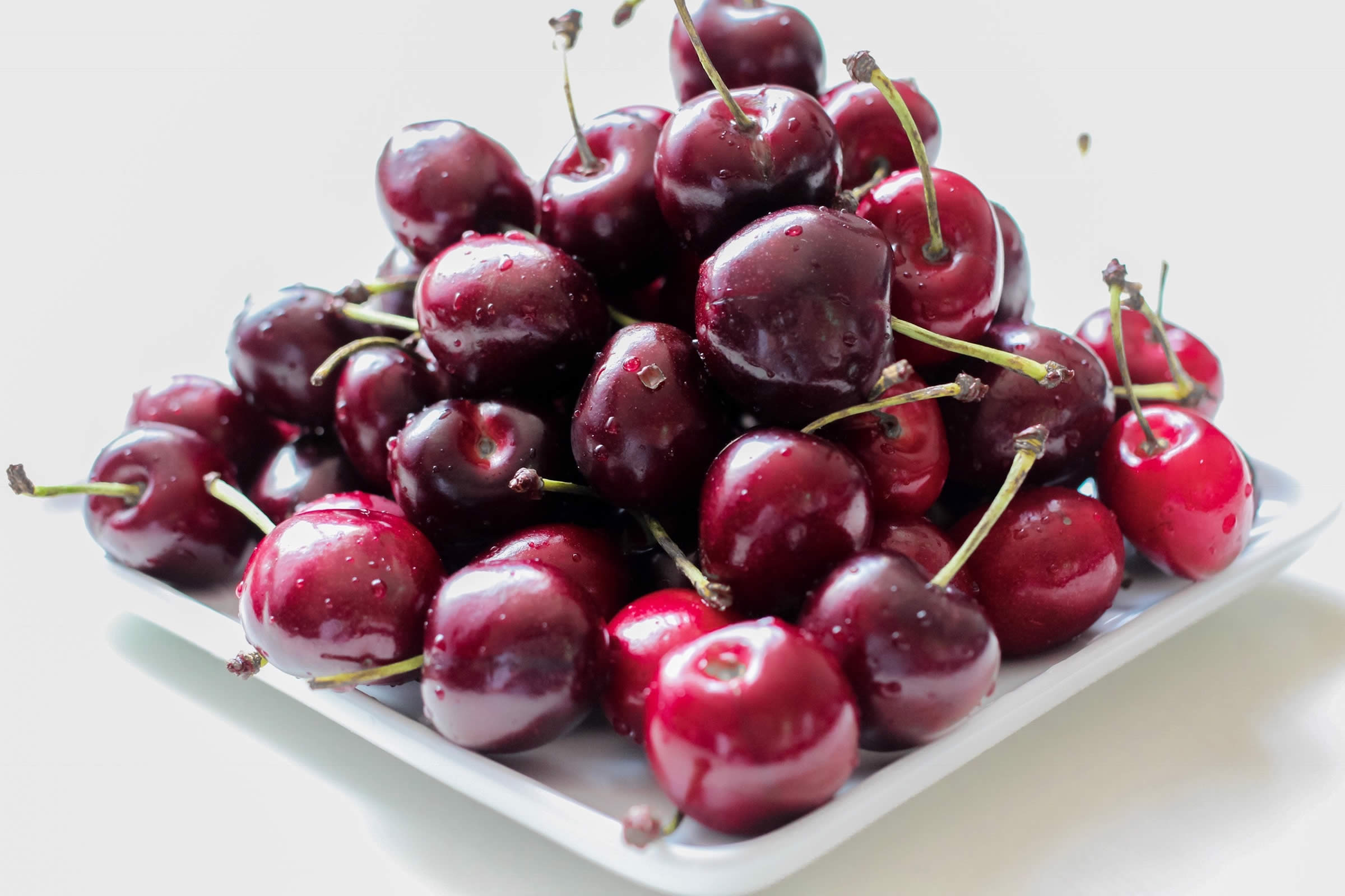Cherries close-up on plate